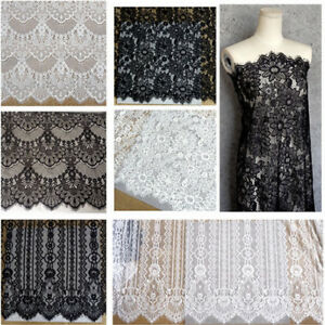 """Lace Fabric Eyelash Embroidery Flower Wedding Party Dress 59/"""" Width By Metre"""
