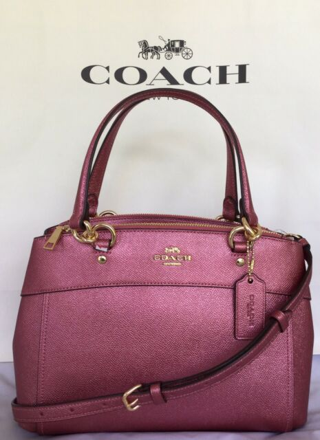 NWT Coach Metallic Crossgrain Leather Mini Brooke Carryall Handbag F25928