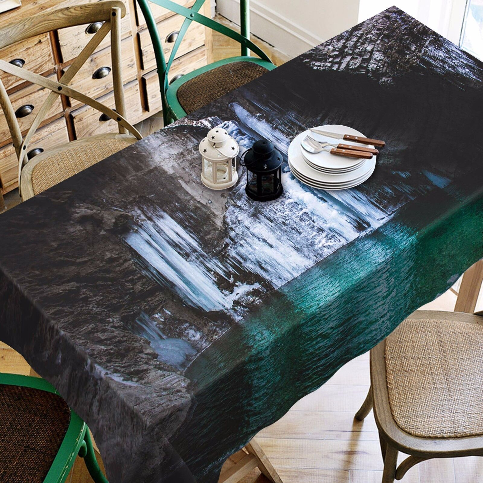 Flux 3D 56 Nappe Table Cover Cloth fête d'anniversaire AJ papier peint Royaume-Uni Citron