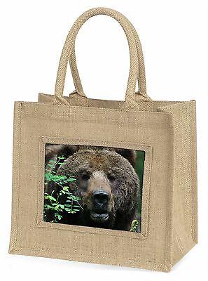 Schöner Brauner Bär Große Natürliche Jute-einkaufstasche Weihnachten