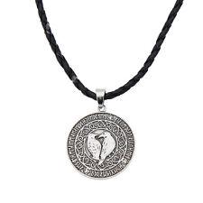 Unisex Viking Crow Amulet Shaped  Pendant Necklace Chain PU Leather Rope Jewelry