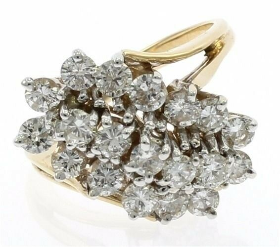 Vintage Diamond Cluster Ladies Ring in 14kt Yellow gold