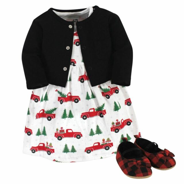 Hudson Baby Girl Cardigan, Dress and Shoes, Christmas Tree ...