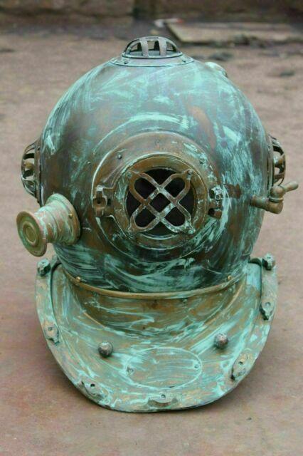 Antique Black Divers Helmet Diving~US Navy//Vintage Mark V//Sea Scuba//Morse//Boston