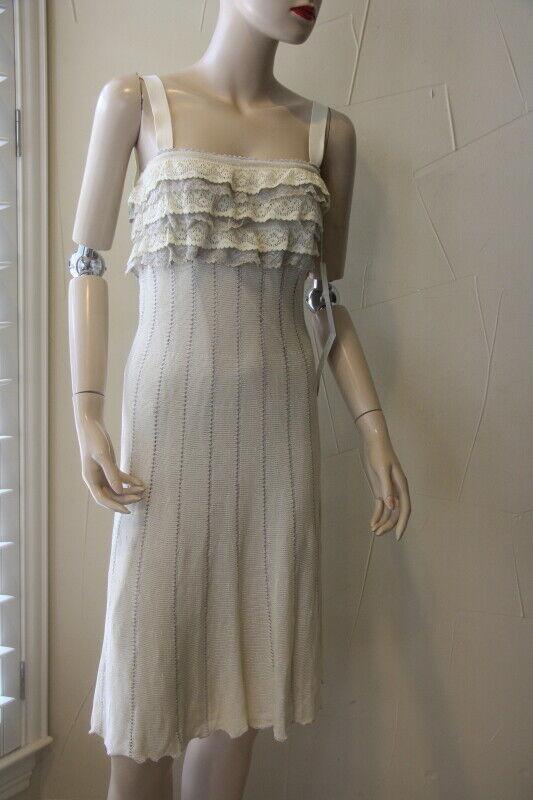 Valentino Roma Lace Knit Métallique Ruffle Robe 42 6 Neuf avec étiquettes