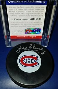 Jean-Beliveau-Signed-Hockey-Puck-NHL-AUTOGRAPHED-PSA-DNA-HOF-MONTREAL-CANADIENS