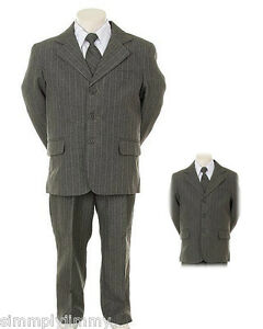Boys-Gray-Pin-Stripe-Formal-Dress-Tuxedo-w-Vest-5-piece-Suit-Set-size-S-XL-2T-20