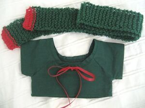 Teddy-Bear-Clothes-Handmade-Daryl-Red-amp-Green-Top-amp-Scarf