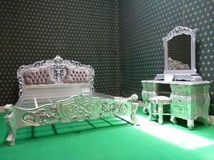 BESPOKE-Silver-Double-Size-4-039-6-034-French-mahogany-Rococo-Bed-set-with-dresser