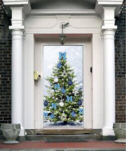 Christmas Front Door Cover Entry Doors Banner New Year ...