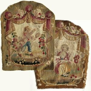 PAIR-Antique-Aubusson-or-Gobelin-Wool-amp-Silk-Woven-Chair-Back-Panels-for-Pillow
