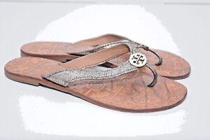 f8c6602cf55b59 TORY BURCH Womens THORA Leather Thong Silver Flip Flops Sandals sz ...