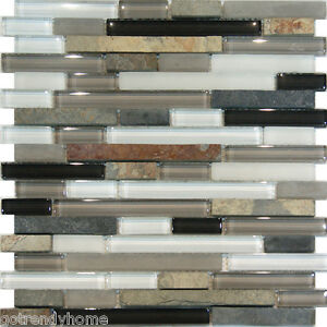Image is loading Sample-Slate-Stone-amp-Glass-Gray-White-Linear-