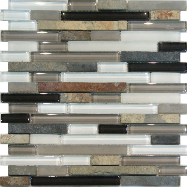 Sample-Slate Stone & Glass Gray White Linear Mosaic Tile Backsplash Kitchen Spa