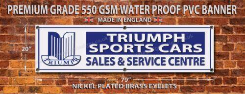 "79/""L X 20/""H. TRIUMPH SPORTS CARS WATERPROOF 550GSM GRADE PVC GARAGE BANNER"