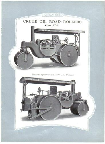 Sales Catalogue Ruston /& Hornsby Crude Oil Road Rollers