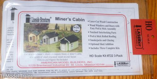 Inc HO #722 Miner/'s Cabins Kits 3 in package American Model Builders