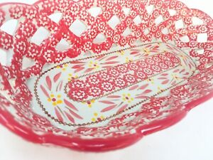Temptations by Tara Basketweave Oval Bread Weave Dish Red Old World Stoneware