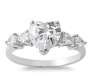 925-Silver-Five-Stone-2-80ct-Simulated-Diamond-Size-10-Heart-Promise-Ring-S75