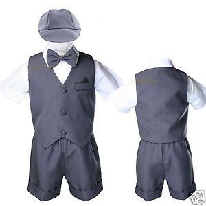 Infant Boy Toddler Dark Grey Gray Silver Eton Vest Set Shorts Suits Outfits S-4T