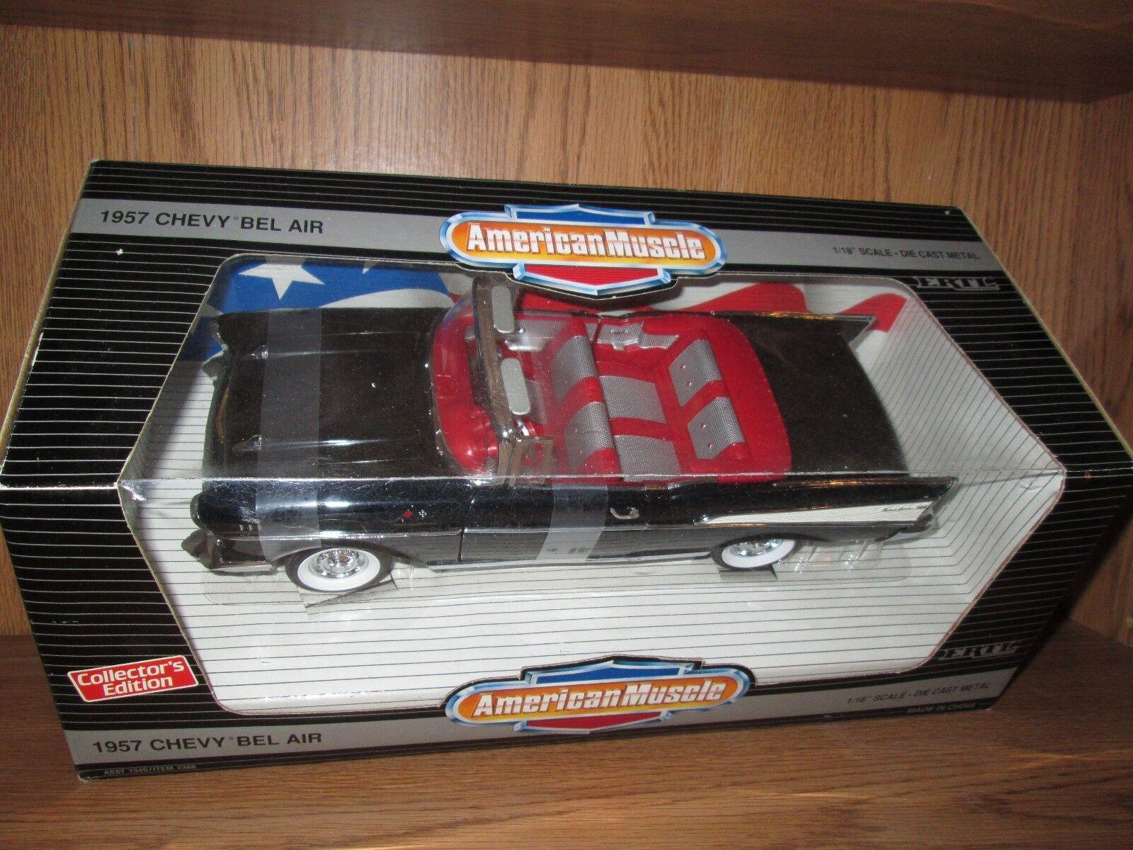 1957 CHEVY BELAIR CONGrünIBLE schwarz 57 american muscle 1 18 7388 rare wedge box