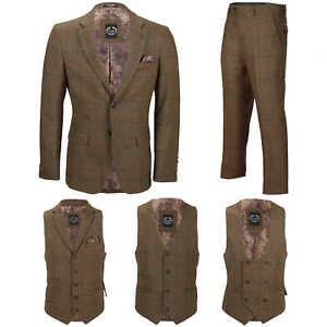 Mens-3-piezas-tan-comprueba-Herringbone-Traje-Blazer-Chaleco-Pantalones-Se-Venden-Por-Separado