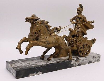 Plastic Resin Horse Amp Roman Soldier Chariot Marble Base