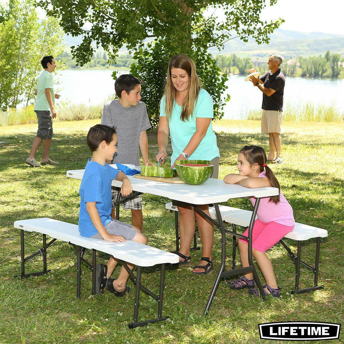 Lifetime 5Ft (152.4 Cm) Fold-In-Half Table + 2 Benches Combo Set