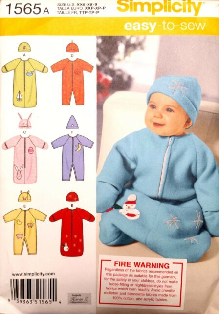 NEW Simplicity 1565 Baby Sleeping Bag Beanie Sleepwear Pyjamas Animal Bear Zip