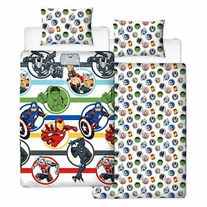 Marvel-Avengers-Fort-Set-Housse-de-Couette-Simple-Reversible-Literie-Enfants