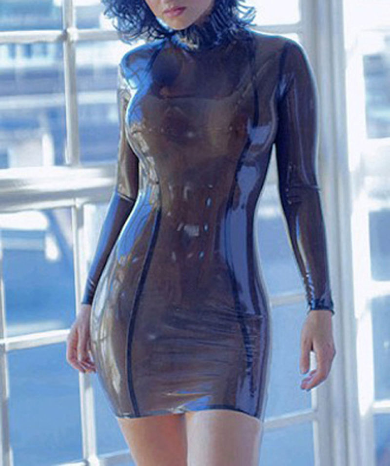Full Sleeve Latex Women dresses Rubber Unique Party Party Party Vestidos Latex Dress 8f1130