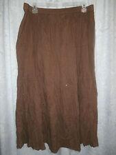 Kim Rogers Belk Size 2X Brown 100% Cotton Tiered Boho Hippie Peasant Skirt VGC