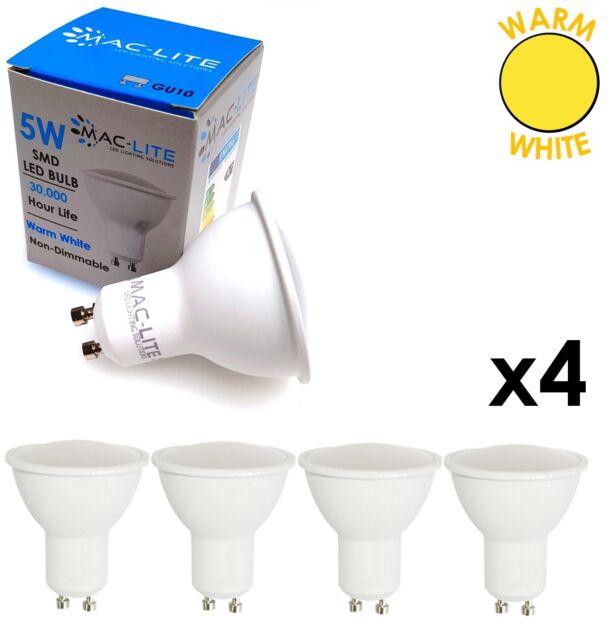 4 x WARM WHITE 5W SMD LED Energy Saving GU10 Light Bulbs Lamps Spotlights 3000K