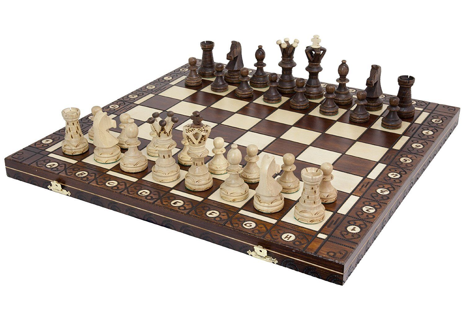 Vintage Wooden Chess Game Hand Carved Board Painted Pieces Large 21 Inch Full Se