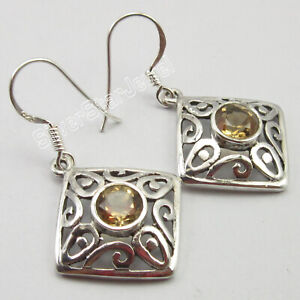 925-Sterling-Silver-Natural-Round-Citrine-Dangle-Earrings-New-Jewelry