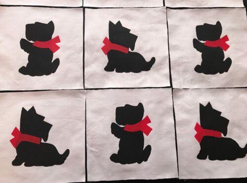 "9 Black Scottie Dog Appliques 6/"" Quilt Top Craft Blocks Cotton Fabric Red Bow"