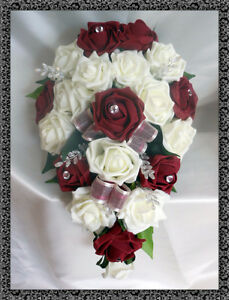Matrimonio In Bordeaux : Spose a goccia bouquet fiori matrimonio avorio & bordeaux rose ebay