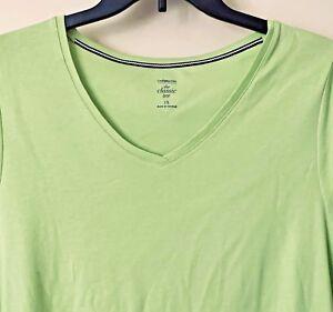 Croft-amp-Barrow-Vneck-Top-NWT-Women-PLUS-Short-Sleeve-Pistachio-Green-Classic-Tee