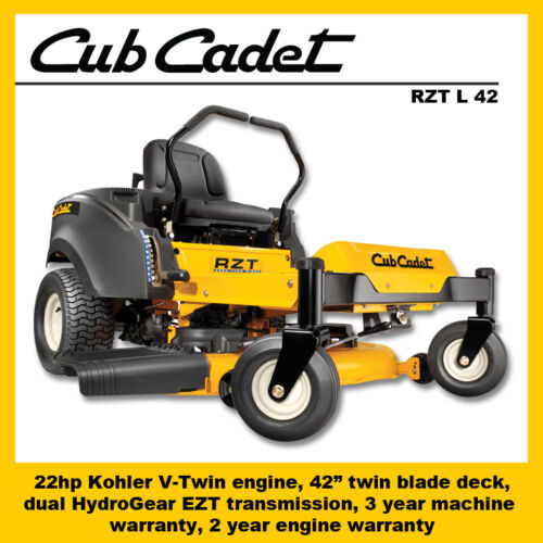 "MTD Cub Cadet RZT L 42 Zero Turn Mower, 22hp Kohler, 42"" cut"