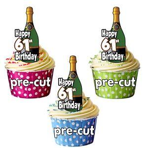 61st Birthday Champagne Bottles - Precut Edible Cupcake ...