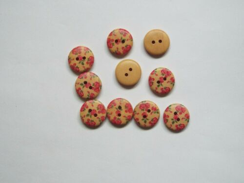 8pc 18mm Light Beige /& Pink Flower Painted Wooden Craft Kids 2 Hole Button 1531