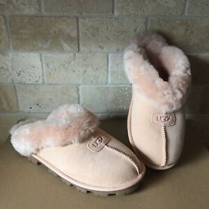 8998bd2ea97 Details about UGG COQUETTE AMBER LIGHT SUEDE SHEEPSKIN SLIP-ONS SLIPPERS  SHOES SIZE 11 WOMENS