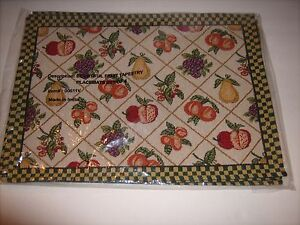 4 Tapestry Placemats Bountiful Fruit Kitchen Dining Room Table Fabric Mats