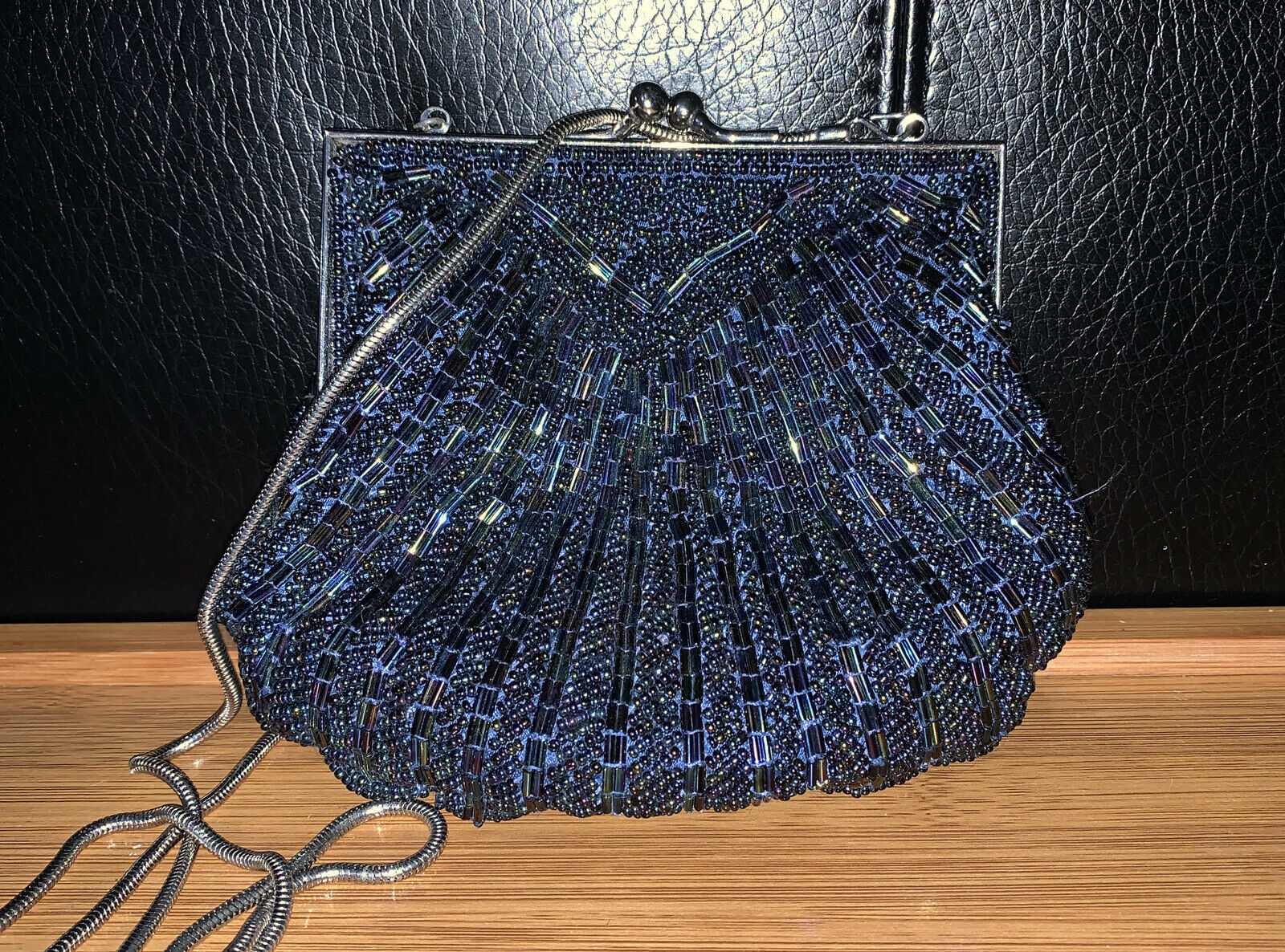 Carla Marchi Navy Rainbow Glass Beaded Purse Evening Bag Clutch Scallop Vtg 50's