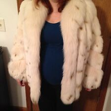 "Blush Spotted Dyed Fox Fur Coat 28"" Length White Size M (Women's 8-10)"