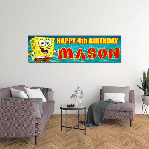 Personalized /& Custom Printed SpongeBob SquarePants Birthday Banner Party Decor