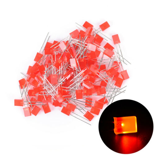 100pcs Rectangular Square LED Emitting Diodes Light Bulbs Yellow//Red//Blue//Gre KA