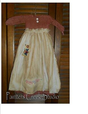 Primitive Wall Decor Dress RED CHECK W/ APRON Always Kiss Me Goodnight