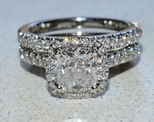 3.30Ct Cushion Cut Diamond Halo Bridal Set Engagement Ring in Certified 14K Gold
