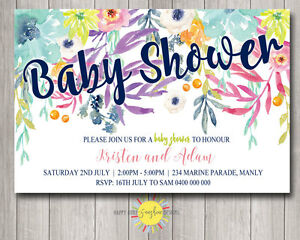 Pack of 8 Personalised Baby Shower Invitations